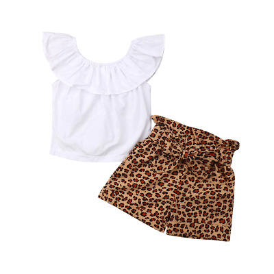 Girls Ruffled Top Shorts Set Kids Plain Color Blouse Leopard Print Summer Pants