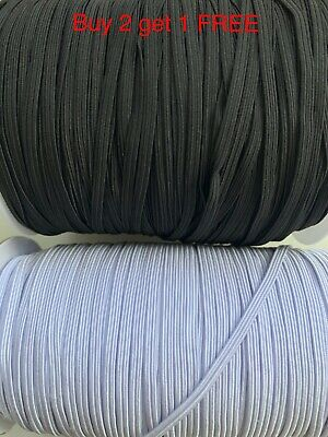5mm wide 1mm thick Flat Elastic Cord Black White Sewing Trimming for face mask