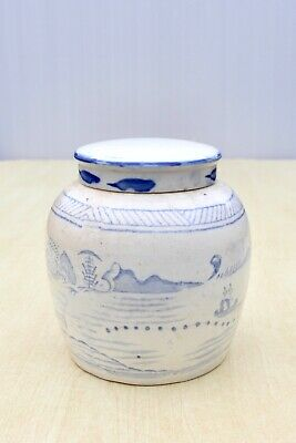 ANTIQUE c1870s CHINESE GINGER JAR HAND PAINTED BLUE & WHITE RURAL SCENES HOUSES