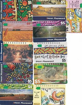 Telstra   $5 X 11  Different Incl Indo Phonecards 1995 Jakarta  Mint M57