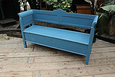 Lovely Old Antique Style Pine/ Blue Painted Storage Box Bench/Settle-We Deliver!