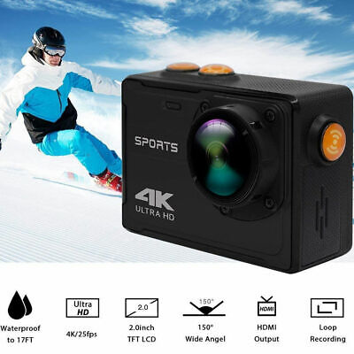 Action Camera 4K WiFi Ultra HD Sports Cam Waterproof Wide Angle DV Camcorder NEW