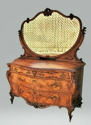American Victorian Rococo Revival ROSEWOOD Lowboy Dresser Chest with Mirror