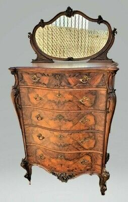 American Victorian Rococo Revival ROSEWOOD Highboy Dresser Chest with Mirror