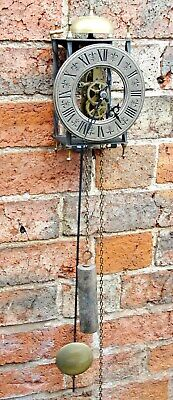 VINTAGE SOLID BRASS WALL CLOCK with PENDULUM & BELL in good working cndt