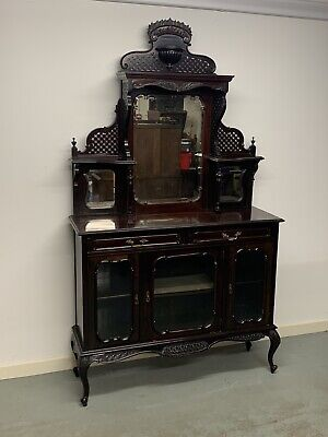 Beautiful Edwardian Ebonised Carved Mirror Back Sideboard Free Delivery