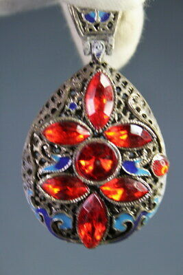 Decorative Ancient Miao Silver Carved Butterflies & Red Beads Exquisite Pendant