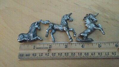 Vintage Lot Of 3 Small Pewter Unicorn Figurines 1 1/2 Inches Long