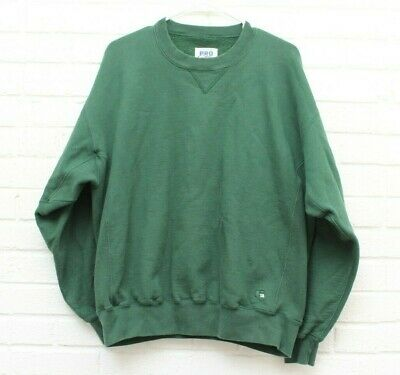 Vintage Russell Athletic Mens Sz Large Green Pro Cotton Blank Crew Neck Pullover