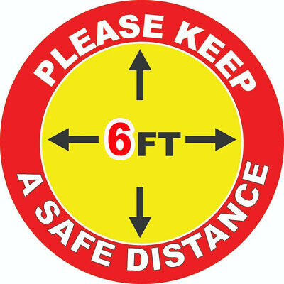 """8 PackSocial Distancing Floor 10"""" Vinyl Decal Sticker - SHIPS IMMEDIALY"""
