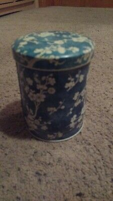 Vintage Daher Blue & White Cherry Blossom Tea Tin Canister Made in England