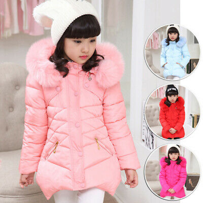 Girls Fur Hooded Thick Long Sleeve Outwear Tops Buttons Winter Parka Jacket Coat