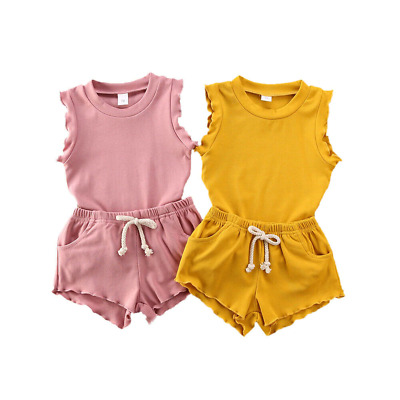 Girls Short O-neck Shrit Set Kids Plain Color Sleeveless Top Summer Bottom Pants