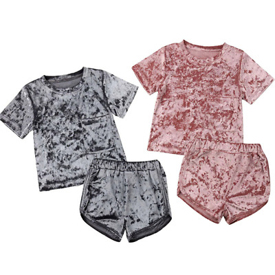 Girls Sports Shorts T-shirt Set Kids Plain Color Short Sleeves Top Summer Pants