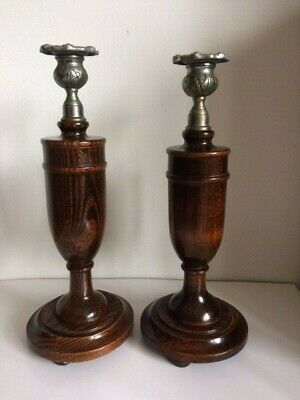 Two Tall Edwardian Candlesticks Wooden Urn Shaped Stems White Metal Holders