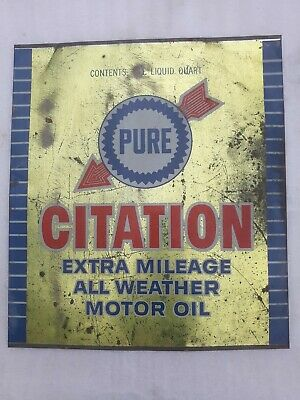 'PURE Motor Oil' Tin Litho Sign   Genuine