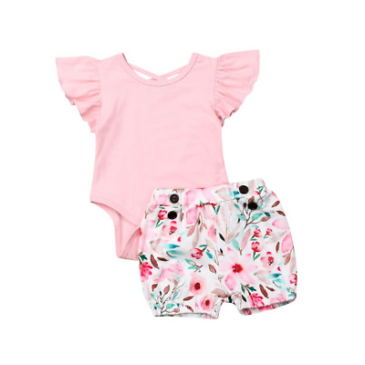 Girls Shorts Ruffle Sleeve Romper Set Kids Plain Color Top Printed Summer Pants