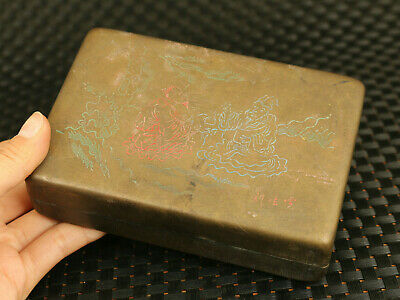 antique chinese old bronze hand carved  figure statue inkpad seal box decoration