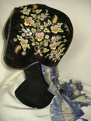 coiffe ancienne cale a diairi antique chenille embroidered ladies coiffe 1800 s