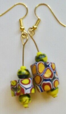 Exotic earrings made of antique Venetian glass African trade beads