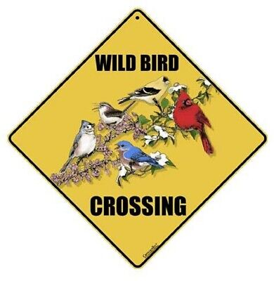"WILD BIRD Crossing Sign, 12"" on side, 16"" on diagonal, Indoor/Out Use-Aluminum"