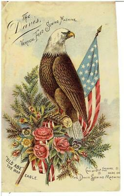 c1900 Card of Old Abe the Wisconsin War Eagle for The Davis Sewing Machine