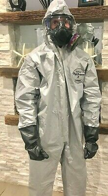 COMBO Dupont Tychem Hazmat Suit type F & North Gloves BIO /Chemical NBC 2XL NEW