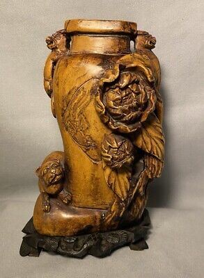 Original/Antique/CHINESE SOAP STONE/Vase/3 Foo/Fu Dogs & Chrysanthemum Flowers.