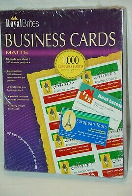 NEW Royal Brites Matte Business Cards White 2 x 3.5 Inches Box of 1000