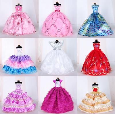 9PCS Barbie Doll Wedding Party Dress Princess Clothes Handmade Outfit for 12in.