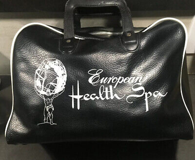 Rare Vintage European Health Spa And Beauty Resort Faux Leather Gym Bag