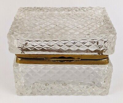 Antique FRENCH Baccarat Style CUT CRYSTAL & BRONZE JEWERY Hinged BOX Casket