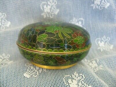 Oriental Cloisonne Enamel Covered Trinket Box or Dish, Green Floral Chinese ?