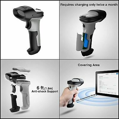 Inateck Bluetooth Barcode Scanner, Working Time Approx. 15 Days, 35M Range