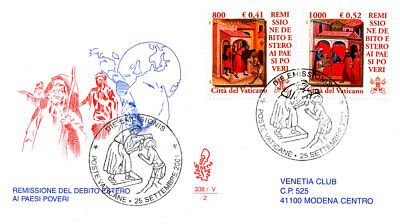 Remission Of Debts Of Poor Countries 2001 Vatican 3 Fdc