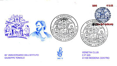 Giuseppe Toniolo Institute For Higher Studies Education 2001 Vatican Fdc