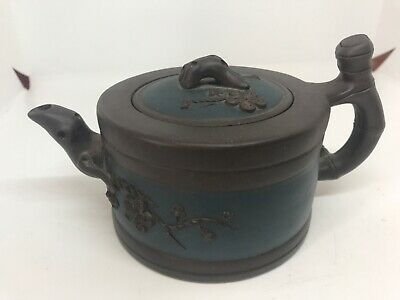 Antique Chinese Yixing Zisha 2 colour Clay Teapot Of Plum Blossom branches