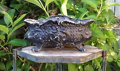 Antique French Sweet Little Painted Cast Iron Jardiniere Garden