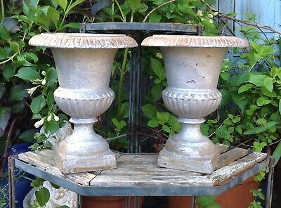 Pair Of Antique French Silvered Cast Iron Urns Garden