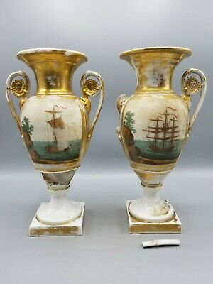 Pair 19Th C Vieux Paris Old Paris Empire Porcelain Urns - Need Repairs - Nr