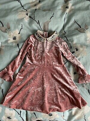 M&S Pink Velour Girls Dress Age 3-4 Years