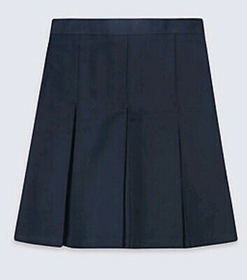MARKS AND SPENCER PLUS FIT Pleated BLACK SCHOOL GIRLS SKIRT 8 - 9 YRS BNWT