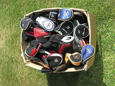 Mixed lot of used golf headcovers, mostly hybrid covers