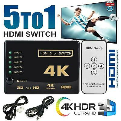 5 Way Port HDMI Splitter Switch 5 to 1 Hub 4k IR Remote USB Cable For HDTV PS3