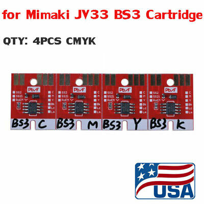 US 4 Colors Chip Permanent for Mimaki JV33 BS3 Cartridge CMYK /set
