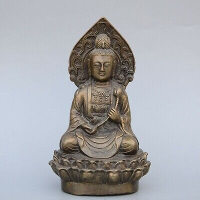Collectable China Old Bronze Hand-Carved Buddhism Kwan-Yin Decor Unique Statue