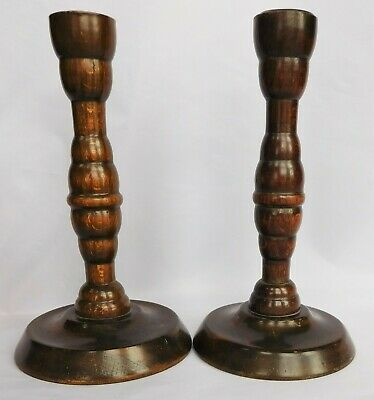 """2 antique vintage wooden candle sticks holders Pair 7"""" tall turned wood treen"""
