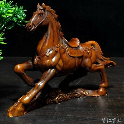 Collectable China Old Boxwood Hand-Carved Battle Steed Moral Luck Decor Statue