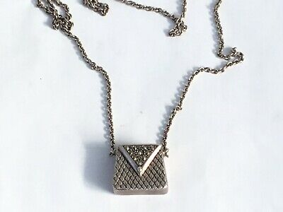A Vintage Miniature Silver and Marcasite Handbag with Long Chain Hallmarked 1998