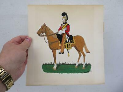 vintage old PAINTING water colour cavalry soldier